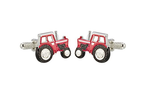 Knighthood Men's Red Stainless Steel Tractor Shaped Cufflinks Red & Black (Shaped Cufflinks)