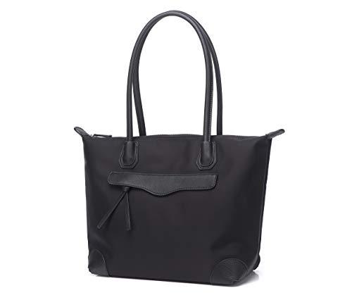 Jeelow Nylon Black Tote Bag Work Tote Bags With Zipper Shoulder Bag Handbags For Women - Zipper Black Tote