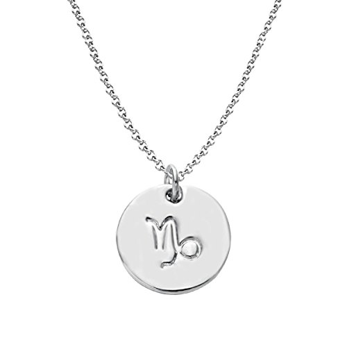 Getlace 925 Sterling Silver Zodiac Capricorn Necklace Disc Charm Necklace ()