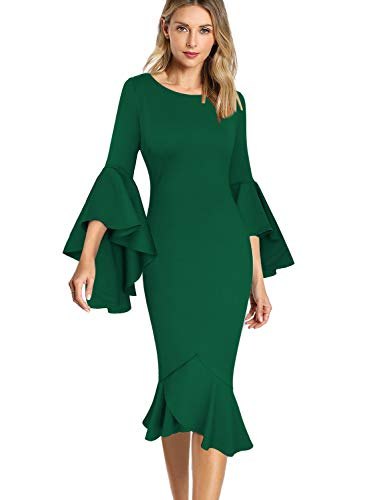 VFSHOW Womens Ruffle Bell Sleeve Cocktail Party Mermaid Midi Mid-Calf Dress 1693 GRN M
