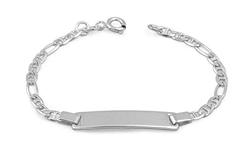 (Children Jewelry - 6 1/2 Inches Sterling Silver ID Bracelet For Boys And Girls)