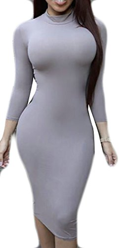 Cheap Papijam Womens Long Sleeve Mock Neck Pencil Solid Bodycon Midi Dress free shipping