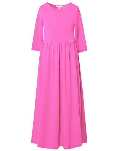 3/4 Sleeve Rose Long Dress for Girls Maxi Dresses 7-16 Christmas Clothes,4-5Y/ Height- 43inch -
