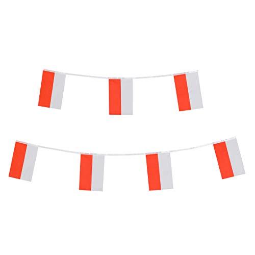 (LoveVC 100 Feet Small Mini Poland Polish Flags Banner String,Decorations Supplies for Polish Theme Party Celebration)