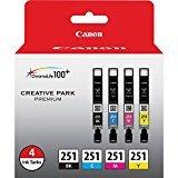 Canon CLI-251 BK/CMY 4PK (4-Color Pack), Black,Cyan, Magenta, Yellow, Compatible to MX922, iP8720, iX6820,MG7520,MG6620,MG5620,MG7120,MG6420,MG5520 and MG6320