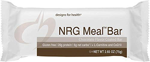Designs for Health Keto-Friendly NRG Meal Bar - 6 Net Carbs + 20 Grams of Protein, Energy Support + High Protein with Allulose (12 Bars) by designs for health (Image #7)