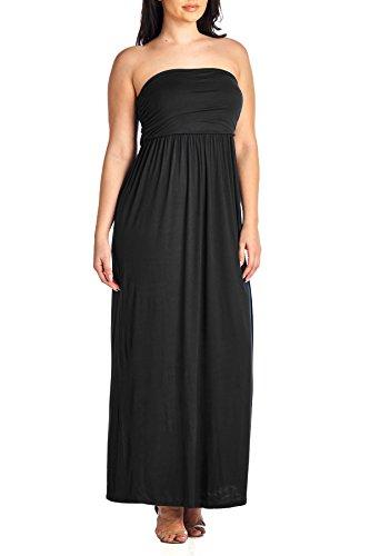 Beachcoco Women's Plus Size Comfortable Maxi Tube Dress (3XL (Plus), Black)