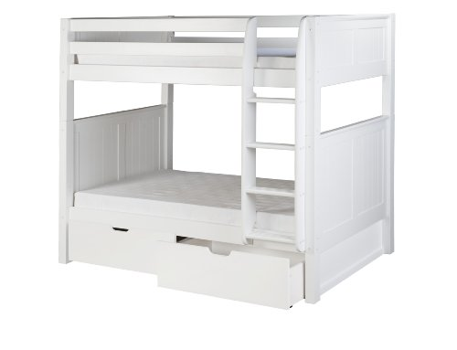 Camaflexi Panel Style Solid Wood Low Bunk Bed with Drawers, Twin-Over-Twin, Side Attached Ladder, White