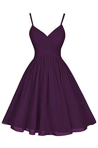 Plum Bridesmaid Dresses Short Knee Length A-Line V-Neck Chiffon Party Dress with Pockets ()