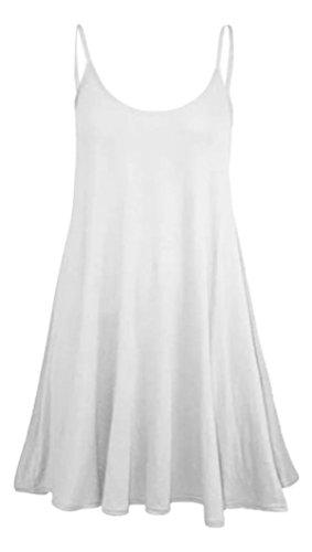 Les Femmes Sans Manches Moulantes Plaine Robe Évasée Swing Blanc