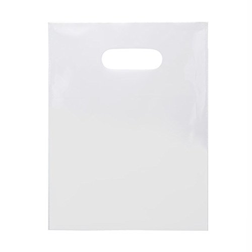 Frosted Die Cut Merchandise Bag (ClearBags 9 X 12 LDPE Solid White Handle Bag | Merchandise Bags With Die Cut Handles Tear Resistant Strength | For Trade Shows, Retail, and Shopping | H912WT1A (Pack of 100))