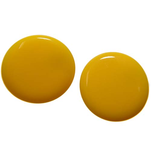 Sidecca Vintage Style Round Acrylic Clip On Earrings (Yellow)
