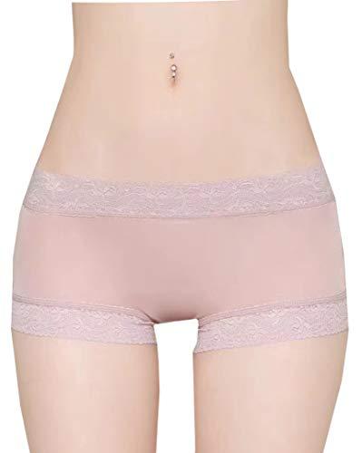 (METWAY Women's Silk Panties Sexy Lace Silk Underwear Boyshort No Show Medium Mauve)