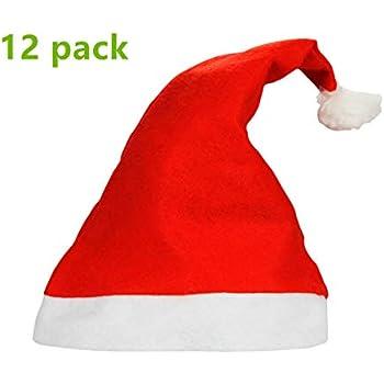 c4c915f217c Yansanido 1 Dozen(12pack) 15   Adult Santa Hat Traditional Red and White  Felt Hats Christmas Santa Hat
