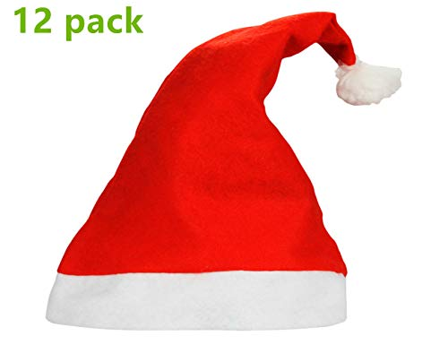 Yansanido 1 Dozen(12pack) 15'' Adult Santa Hat Traditional Red and White Felt Hats Christmas Santa -