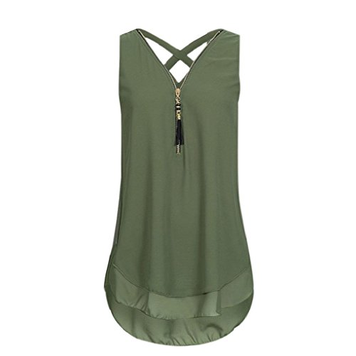 Zipper Back Tee - Ulanda Women Fashion Sleeveless V-Neck Vest Back Cross Straps Zipper T Shirts Blouse Tank Tops (L, Green)