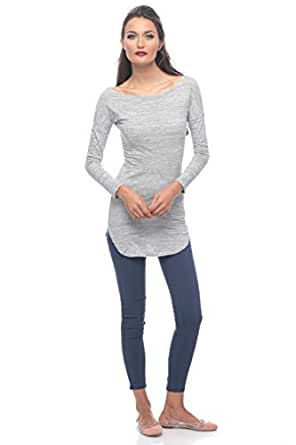 Grey Cotton Round Neck Blouse For Women