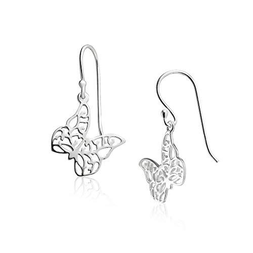 Big Apple Hoops - Genuine 925 Sterling Silver Beauty of Nature Delicate Butterfly Dangle Hook Earrings | Beautiful Polish Finish (Dangle Butterfly Double)