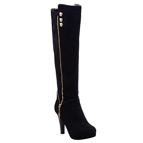 Heel Black Carolbar Boots Long Elegant Charm High Zippers Women's 6Ifqp