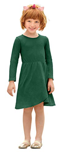 City Threads GirlsThermal Cross Skirt Dress Long Sleeve Lightweight for School or Party - Sensitive Skin SPD Sensory Friendly, Forest Green, -