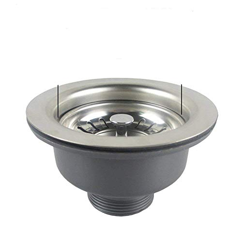 Qrity 110MM Composite Kitchen Sink Drain Assembly with Sink Strainer, Stainles Steel
