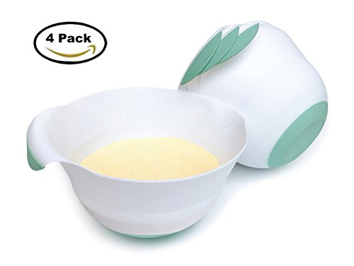 3-Quart Plastic Mixing Bowls-Set of 4-with Easy Grip Handle/Non-slip Bottom/Pour Spout/Measurement Marks,Flexible and (Cooking Halloween Potluck)