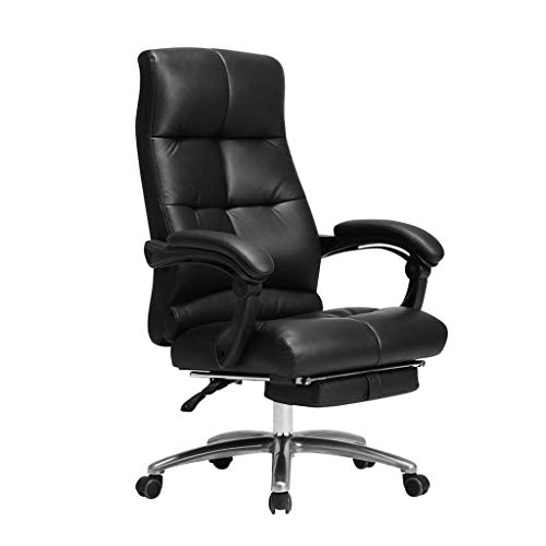 Office Chair, Executive Chair Leather Adjustable Height Ergonomic Design Swivel Chair Reclining Rotary Lifting Handrail