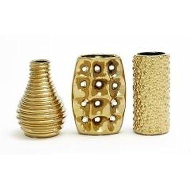 Elegant Styled Gold Ceramic Vase Set of 3 Home Decor