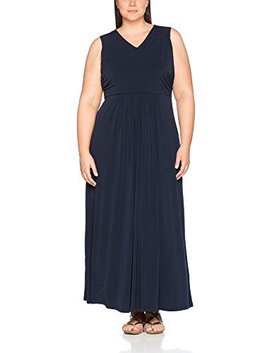 Ulla Popken Damen große Größen bis 58   Ärmelloses Kleid   Empire-Silhouette   V-Ausschnitt, gekräuselte Quernaht   Bindegürtel   710522 Blau (Dunkelblau 70)