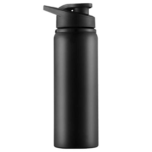 2020 Water Bottle Insulated Double Wall Portable Stainless Steel Bottle Leak-Proof Function, Sports Water Cup Direct Drinking Kettle for Outdoor Sports Camping Hiking Running (Black)