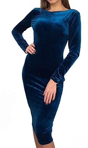 Redondo Midi de Sexy Cóctel Backless Cadera Primavera Paquete Vestido Elegante Cuello Mujeres Azul Larga Moda de Manga Apretado Terciopelo Otoño Partido Vestido Fiesta Vestidos de wyCtFxq8