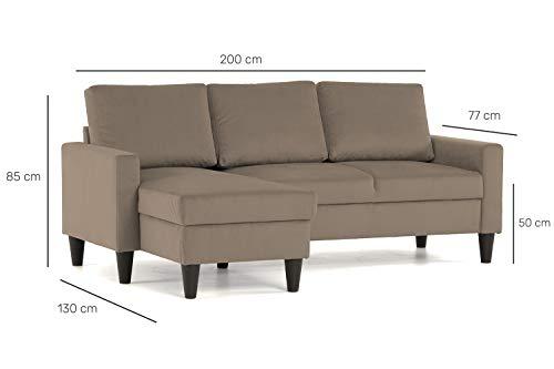 Confort24 Fox Canapé d'angle 3 Places Chaise Longue Reversible Gauche ou Droite (Taupe)