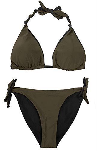 CharmLeaks Ladies Halter Bikini Swimsuit Reversible Slide Swimwear Tie Bikini M