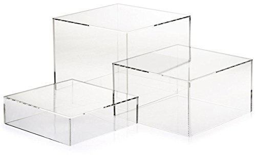 Marketing Holders Set of 3- Acrylic Cube Display Nesting Risers, Hollow Bottoms (Nesting Cube Tables)
