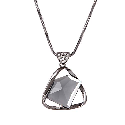 - Durable Simple Triangle Crystal Pendant Necklace Personality Women Sweater Chains black