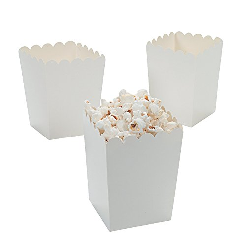 Mini White Popcorn Boxes Paper
