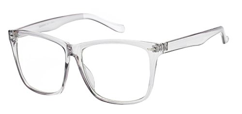 5zero1 Fake Glasses Big Frame Nerd Party Men Women Fashion Classic Retro Eyeglasses, Clear - Prescription Glasses Big