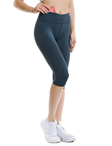 ANBENEED Middle Waist Knee Length Workout Power Flex Capri Leggings for Women Non See Through Buttery Soft Gym Fitness Capris with Inner Pocket.