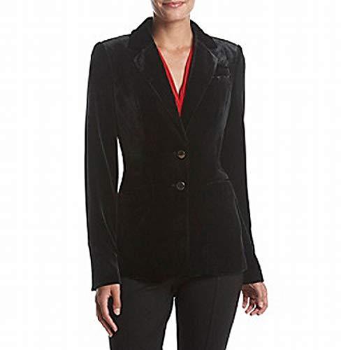 (Calvin Klein Women's Petite Velvet 2 Bttn Jacket, Black)