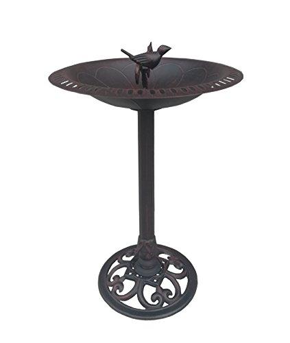 Cast Iron Bird and Twig Birdbath - Pedestal Birdbath for Yard, Garden Product SKU: BB11115