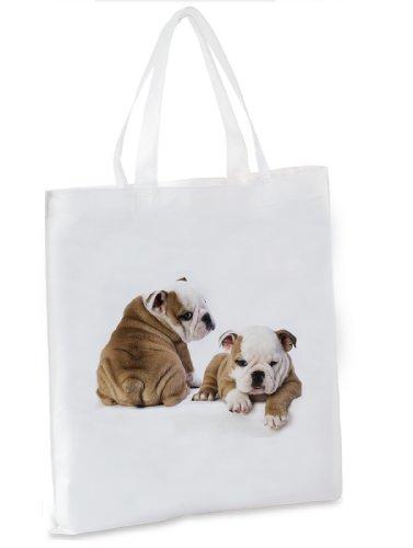 Shopping Bag / Tote Bag / Shopper / Con Manici - 38x42cm - Motiv: Bulldog Inglese Due Cuccioli Fianco A Fianco [15]