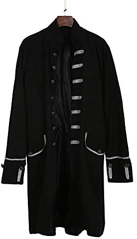 iZZZHH Men's Long Standard Collar Coat Gothic Frock Coat Uniform Costume Party Outerwear