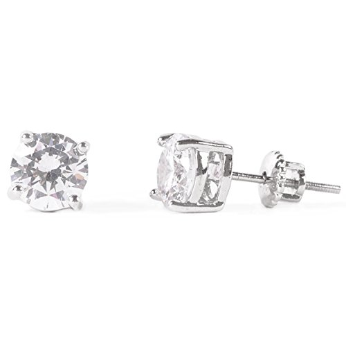 SIGWAY HIGGS 18K White Gold Stud Cubic Zirconia Earring in Secure Screw-back, 5MM