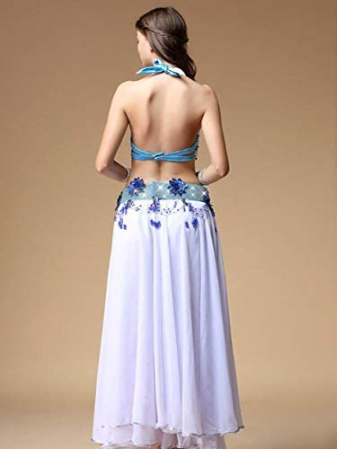 NANXCYR Damen Fairy Belly Dance Rock Kostüm Chiffon Rock Halloween Dance Outfit Eleganter Ballsaal Langes Latin Performance Kleid Bollywood Kleid,Weiß,XL