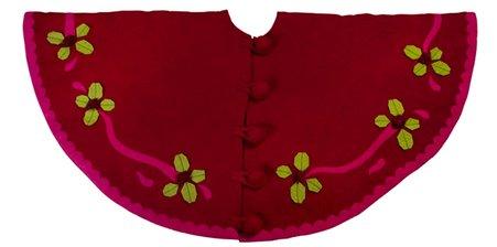 Arcadia Home TF63 Berries Christmas Tree Skirt, Red
