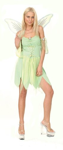 Campanilla Tinkerbell Green Fairy Adult Fancy Dress Outfit UK 10 ...