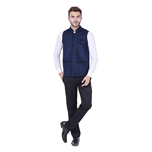 31bo7WzZwrL. SS500  - AKAAS Men's Poly Cotton Solid Button Chinese Collar Waist Coat Nehru Jacket for Marriage Party Ceremony