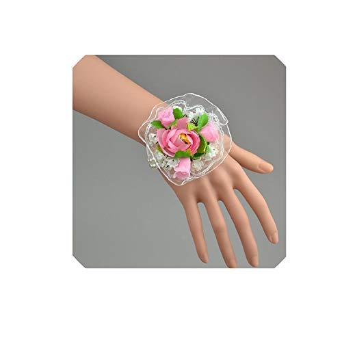 5 Pcs\lot 100% Handmade Hybrid Silk Rose Artificial Corsage Flowers Wrist Flowers for Bridesmaid Wedding Decoration,Pink ()