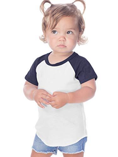 (Kavio! Infants Jersey Contrast Raglan Short Sleeves White/Navy 18M)