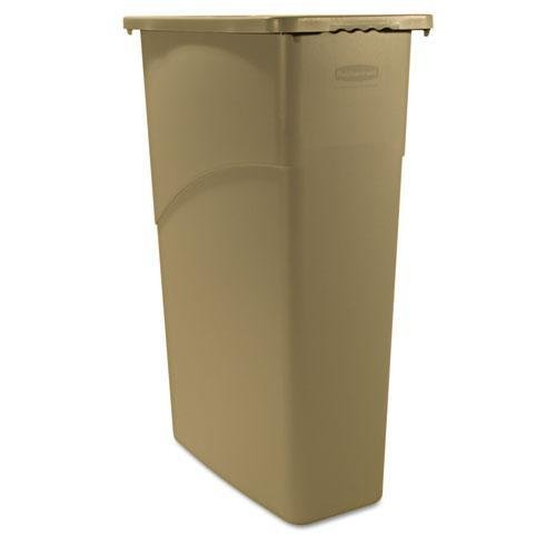 Slim Jim Waste Container, Rectangular, Plastic, 23gal, Beige, Sold as 1 Each